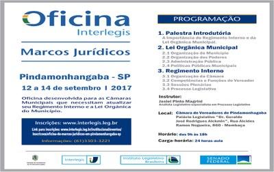 "Câmara de Pindamonhangaba recebe ""Oficina da Interlegis"" e propõe debate sobre Regimento interno e Lei Orgânica Municipal"